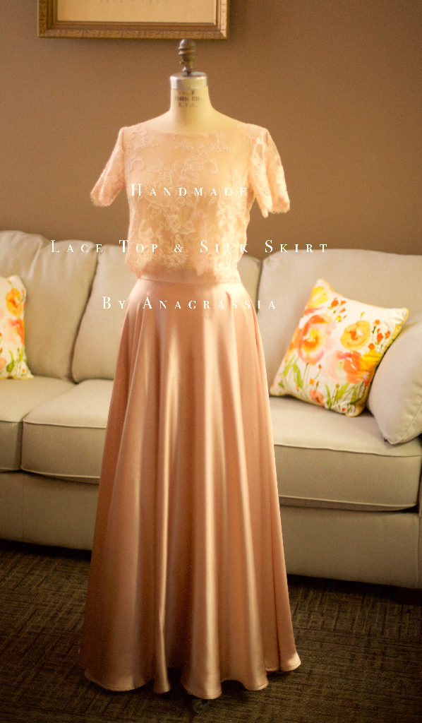 a2c06f8bf Pink Blush Alencon Lace Crop Top Bodysuit & Long Dusty Rose Skirt For Bride  Bridesmaids Wedding