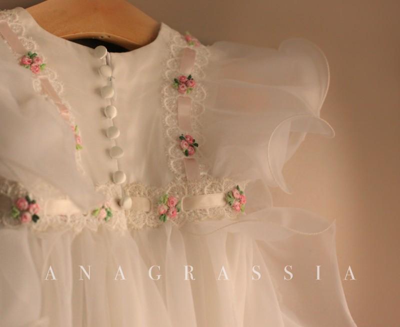 silk baptismal gown pink floral handmade | Marusya Marusya