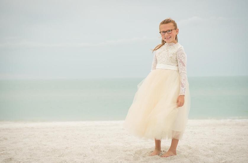 Vintage Wedding Dresses Florida: Lace Tulle Flower Dress Communion Ivory